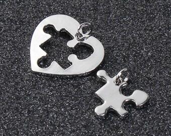 Puzzle Piece Charms Puzzle Pendants Puzzle Heart Charms Heart Pendants Friendship Charms Love Charms Silver Heart Charms Austim Awareness
