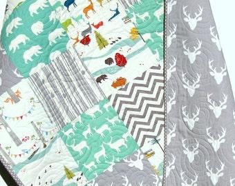 Baby Boy Quilt, Mint Green Blue Gray, Elk Deer, Woodlands Birch Forest Modern Blanket Chevron Buck Bear Crib Bedding Children Baby Toddler