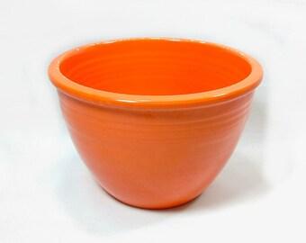 "Vintage Retro Fiesta Ware Fire Orange Glaze #2 Pottery 6"" Mixing Bowl Kitchen Collectible"