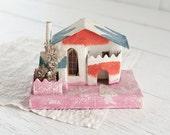 Vintage Putz House - 1950s Colorful Retro Christmas Decoration