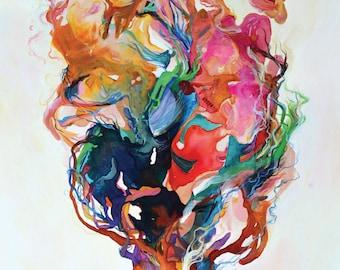 Mazarine Tessitura / Giclee print  / organic / contemporary art / abstract painting / water / plant / flowers / botany / music