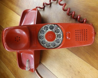Vintage Trimline rotary telephone Red, untested, Prop, display, Rotary Telephone, Western Electric bell system
