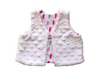 Baby Girl Vest, Reversible Minky Vest, White Vest with Lightning Bolt Lining