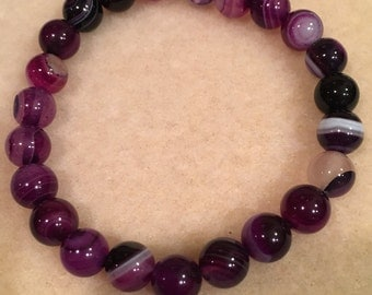 Purple Banded Agate 8mm Stretch Bead Bracelet with Sterling Silver Accent