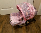 READY TO Ship - floral with 3d rose accent car seat cover-Made to fit Chicco/Evenflo seats (Slipcover,canopy/strap covers)