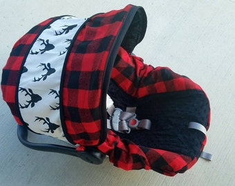 Large plaid car seat cover with buck accents- Baby Seat Covers By Jill - always comes with free strap covers- baby boy seat cover