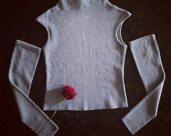90's Clueless Grey Knit Cut Off Sleeves Exposed Shoulder Sweater Mock Turtle High Neck Top // S - M