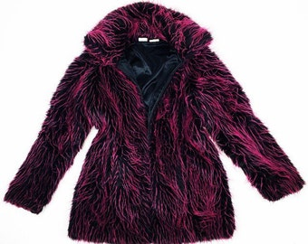 90's Super Shaggy Cyber Faux Fur Hot Pink and Black Coat // M
