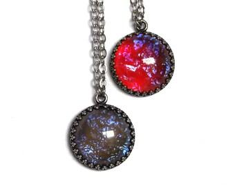 SALE Double Dragon Breath Opal Necklace Set