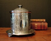 Antique Silver Plate Biscuit Barrel / Biscuit Jar / Cookie Jar / English Biscuit Barrel / Made in England / Tea Canister