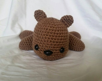 Brown Teddy Bear Stuffed Animal/ Amigurumi/ lying down