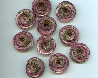 Inked Book Print Handmade Spiral Paper Flowers Boysenberry Purple Ink