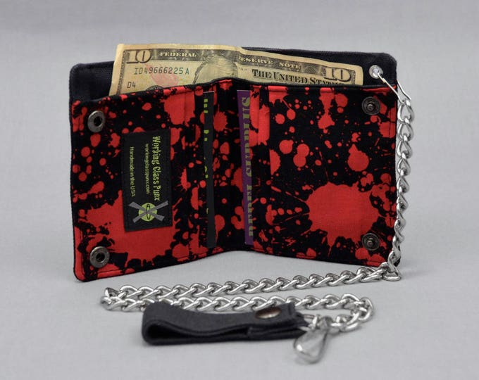 Vegan Chain Wallet Blood Splatter with Black Canvas