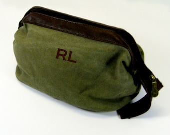 WWII Style Shaving Kit in Green Canvas