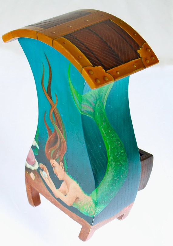 Boxes, Jewellery Box, Paul Szewc, Carye Mahoney, Nicknack Box, Wood Box, Ring Box, Earring Box, Art Box, Mermaid, Solid Ash, Hand Painted