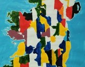IRELAND MAP, ORIGINAL art work, acrylic paint, Gaelic Football, hurling, 40 x 50cm,
