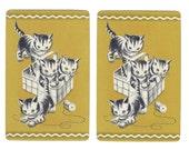 BASKET O'KITTENS in Gold (2) Vintage Single Swap Playing Cards Paper Ephemera Scrapbooking