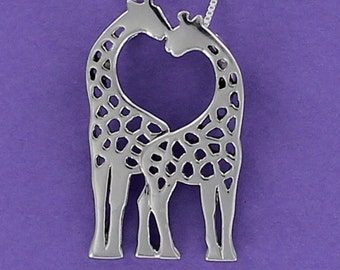 Kissing Giraffes Necklace - 925 Sterling Silver on Sterling Box Chain
