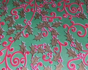 1 Sheet Vintage Red Green Holly Berries Christmas Gift Wrap Wrapping Paper