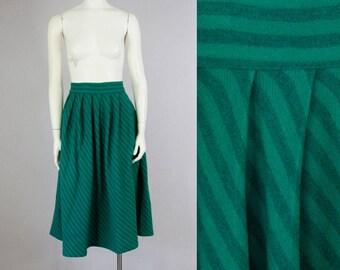 """50s Vintage Diagonal Stripe Wool Pleated Skirt.  High Waist Midi Skirt (M; 28 1/2"""" Waist)"""