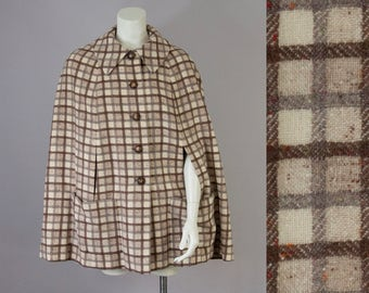 50s Vintage Wool Cream & Brown Speckled Plaid Cape Jacket (M)