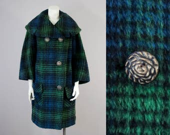 60s Vintage Mohair Plaid Shawl Collar Jacket with Flower Carved Buttons (S, M)