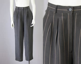 "90s Vintage Neiman Marcus Silk Grey Pinstripe Pleated High-Rise Trousers (M; 28 1/2"" Waist)"