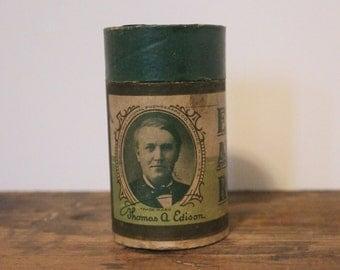 antique Edison Amberol Record Canister - 587, Amo Intermezzo, Edison Concert Band - no cylinder, 1908-1912, box, container, storage