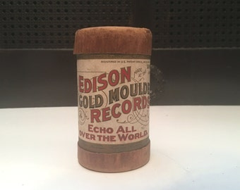 antique Edison Gold Moulded Record - 9337, The Free Lance March - recording cylinder + canister, 1902-1912