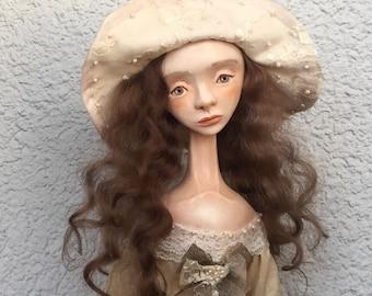 Art doll Dorota Ooak doll Paper clay doll Collection doll Clay doll Air dry clay doll