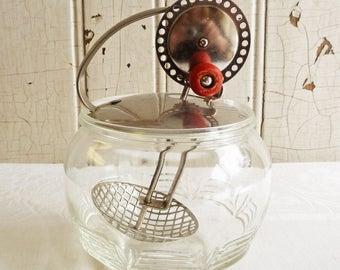 Vintage Androck Whipper in Glass Jar - Mayonnaise Whipper, Egg Beater - Made in USA - 1930s or 1940s - Display Piece Only