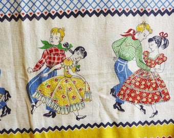 ON SALE Vintage Square Dance Feed Sack Fabric - Genuine Feedsack, Opened - Mid-Century 1940s or 1950s - Fabric for Quilting or Home Decorati