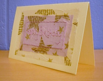 Embroidered Card, Hand Stitched Cards, Birthday Card, Lilac Card,  Birthday Card