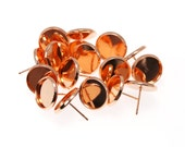 12mm Rose Gold Tone Brass Earring Tray Setting Blanks, Earring Backs INCLUDED