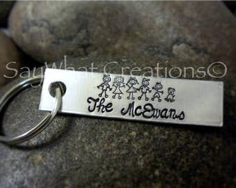 Stick Family Hand Stamped Key Chain