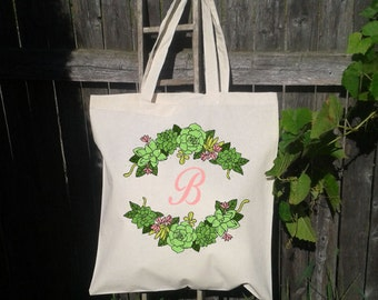 Succulent Wreath,  Wedding Tote,Wreath Wedding Welcome Tote -Bridesmaid Bag
