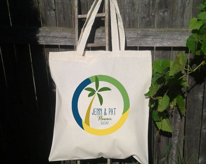 25 Palm Tree Tote Bag, Destination wedding tote bag, Guest Tote, Hotel Gift Bag