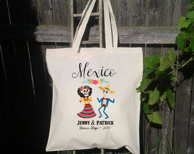 25 Mexico Wedding Welcome Tote Bag, Mexican Wedding, Day of the Dead, Sugar Skull Wedding