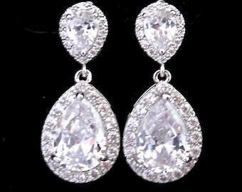 Bridal Earrings Wedding Jewelry Cubic Zirconia Tear Drop Bling Prom Earrings Wedding Jewellery