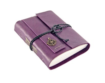 Purple Leather Journal with Lined Paper and compass charm - Ready to Ship -