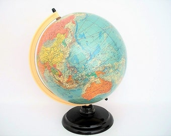Vintage World Globe Large Rath's Political with Bakelite Stand c1958