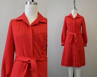 1960s Red Pintuck Dress