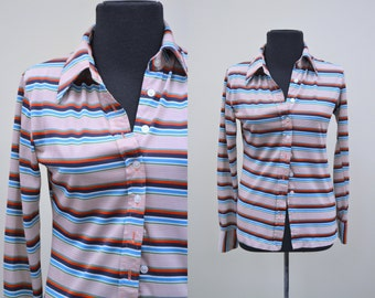 1970s Dibs of Portland Striped Button Up Shirt
