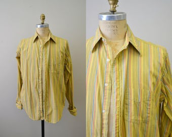 1960s Gant Striped Cotton Men's Button Front Shirt