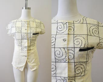1980s Pandore Spiral Print Shirt