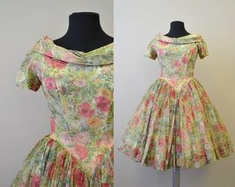 1950s Gigi Young Floral Chiffon Dress