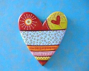 Art Heart, Original Wood Wall Sculpture, Wood Carving, Valentine, Painted Sculpture, by Fig Jam Studio