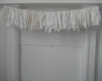 tattered garland cream and white garland shabby decor christmas decor holiday garland rag garland cottage chic lace garland vintage look 3ft