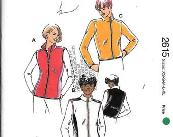 Kwik Sew 2615 Zipper-Front Fleece Vests & Jacket Sewing Pattern UNCUT SizeXS-S-M-L-XL