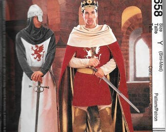 McCall's 3658 Costume Men's Knight Camelot King Arthur Sewing Pattern UNCUT Sizes Small And Medium